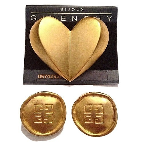 Image of SOLD OUT Givenchy Bijoux Massive Heart Pin Brooch and Matching Logo Earrings