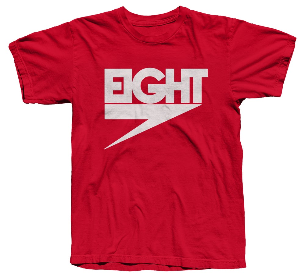 Image of Electric Eight Tee (White/Red)