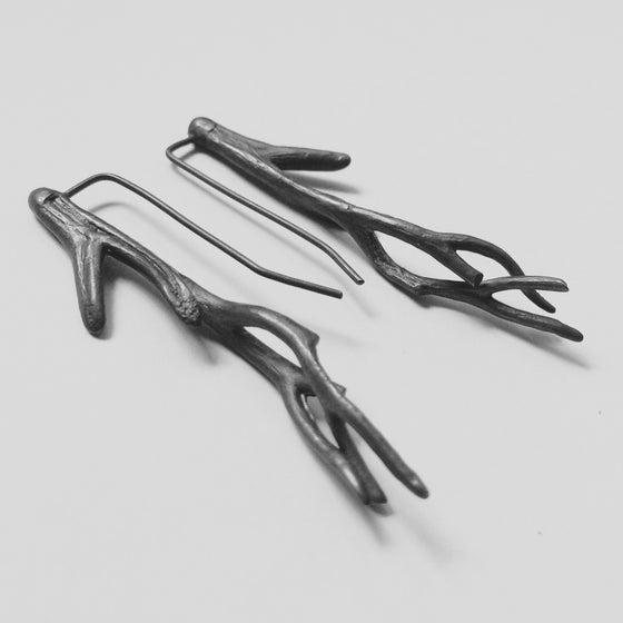 Image of Point Napean drop earrings - oxidised