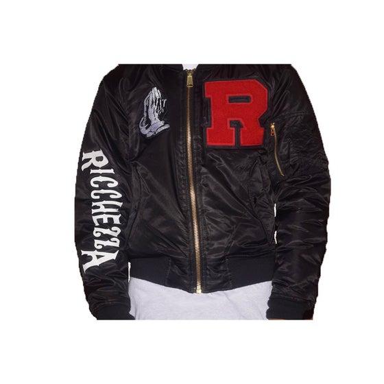 """Image of """"R"""" 4 RICCHEZZA™ Flight Jacket (Black/White/Orange)"""