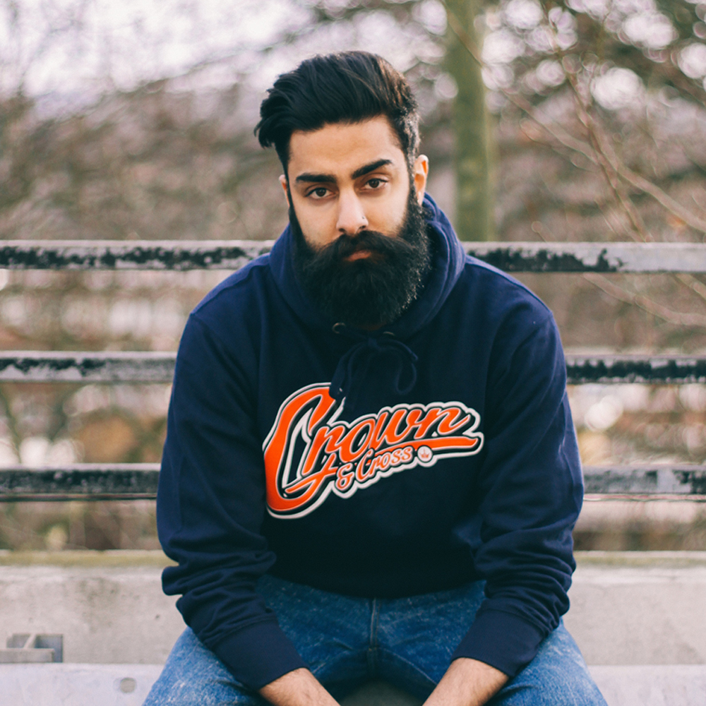 Image of SCRIPT PULLOVER HOODY - BLUE