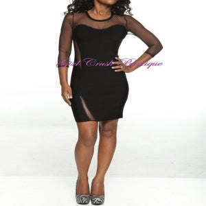 Image of Black Bandage Embellished Sheer Dress