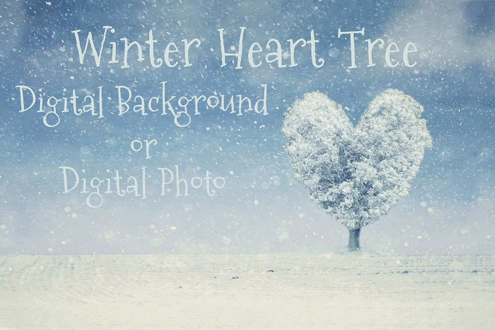 Image of Winter Heart Tree Digital Background/Digital Photo