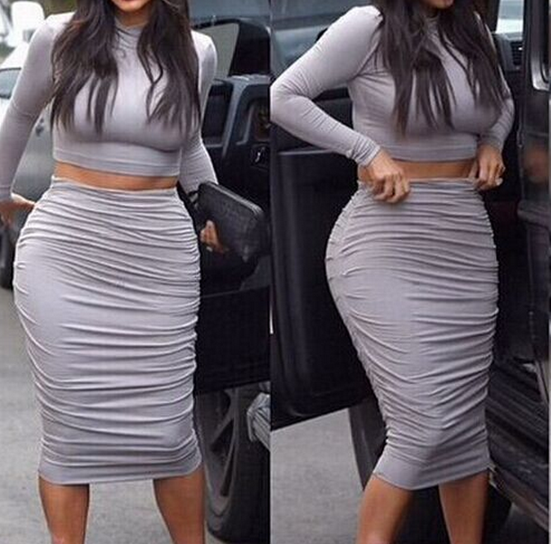 Image of CUTE GREY TWO PIECE HOT DRESS