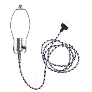 Image of Lamp Kit - Black White Houndstooth Lamp Cord