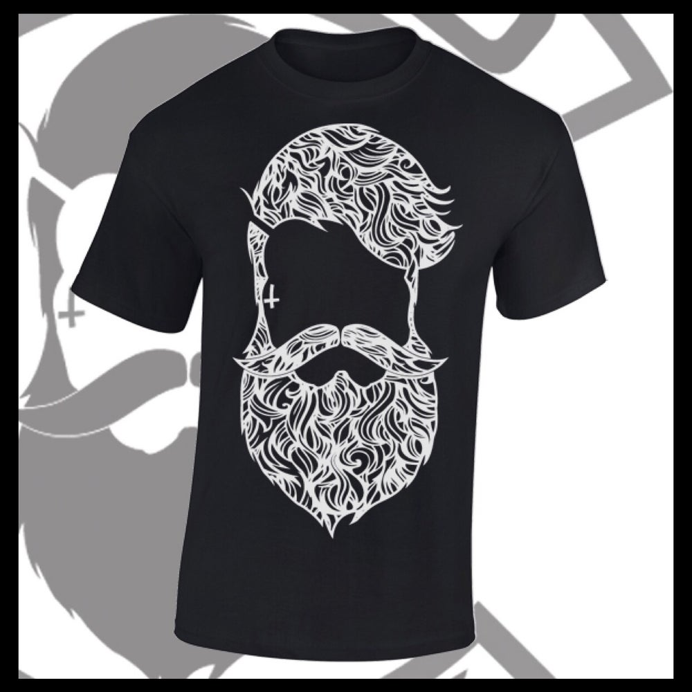 Image of Black Beard & Ink Large Patterned Logo Tee