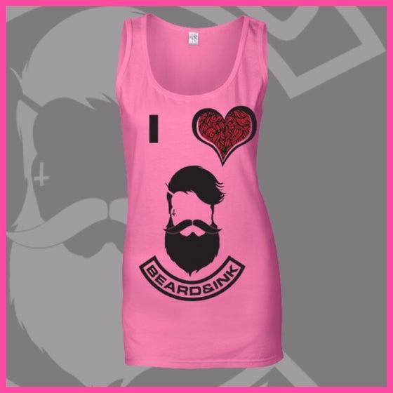 Image of Azalea Pink I ❤️ Beard & Ink Front Logo Vest