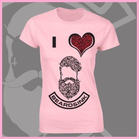 Image of Baby Pink I ❤️ Beard & Ink Patterned Logo Tee