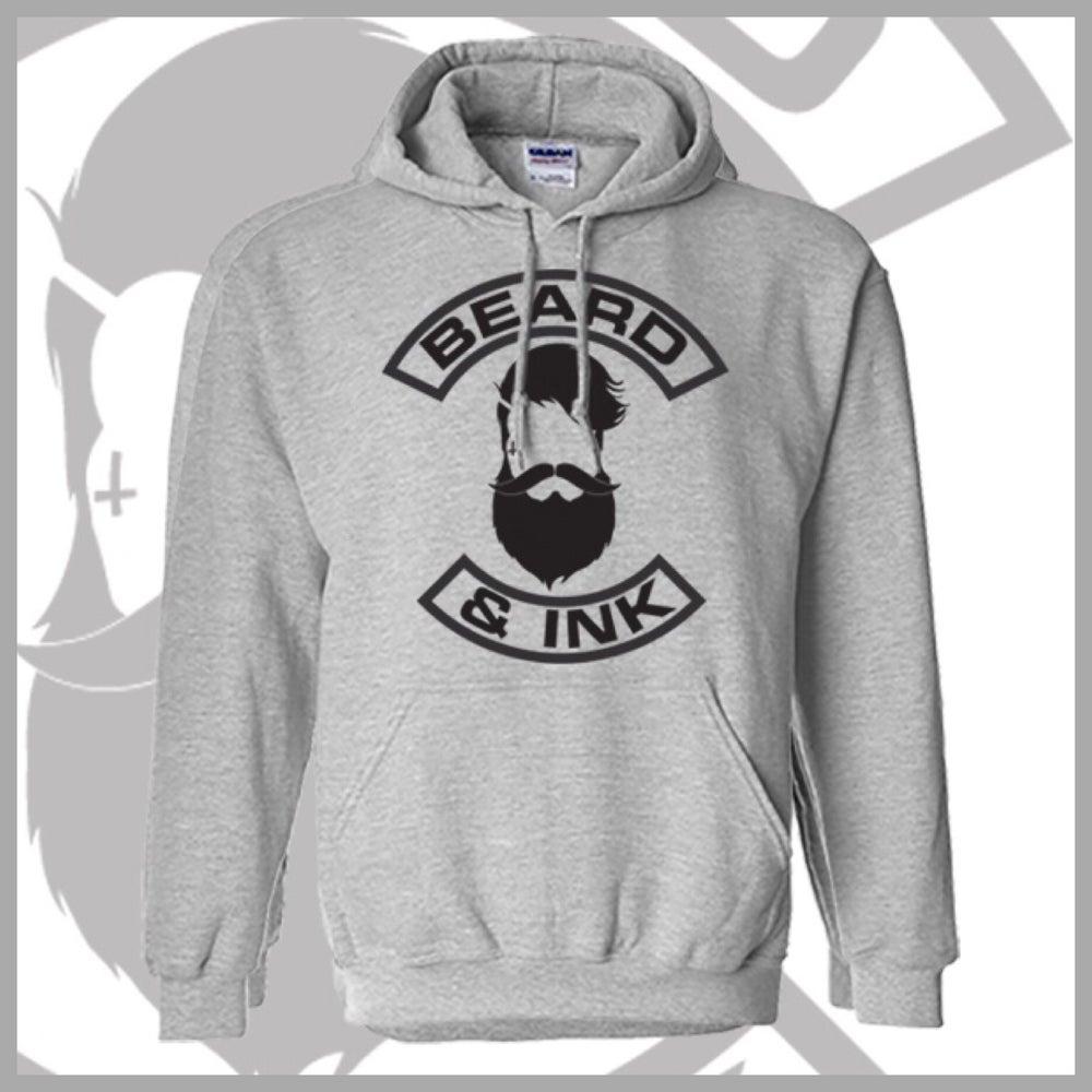 Image of Grey Front Beard & Ink Classic Logo Unisex Hoody