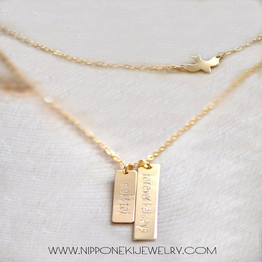 vertical bar necklace nameplate necklace custom