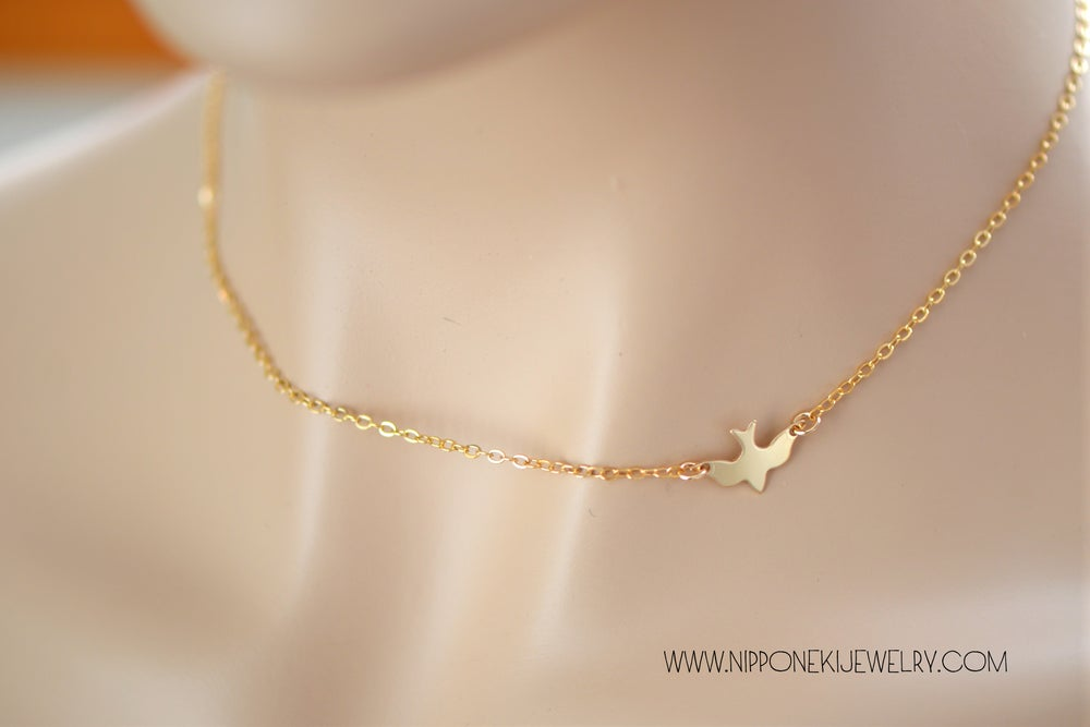 Image of Soar Bird Necklace - Simple Bird Necklace - Layering Necklace - Minimal Jewelry