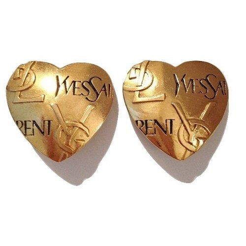 Image of SOLD OUT Authentic Oversized Yves Saint Laurent YSL Heart Earrings