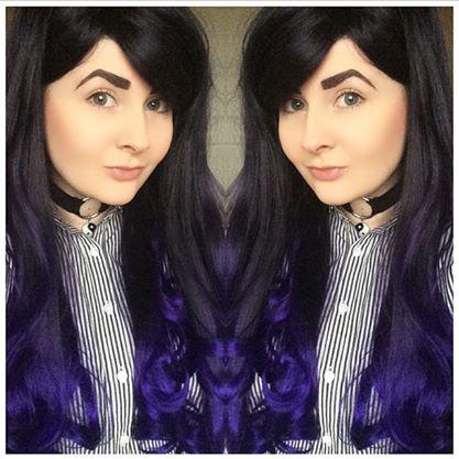Image of Blackberry Dip, Black Purple Dip Dye Ombre Curls Waves Gothic Lolita Cosplay Wig