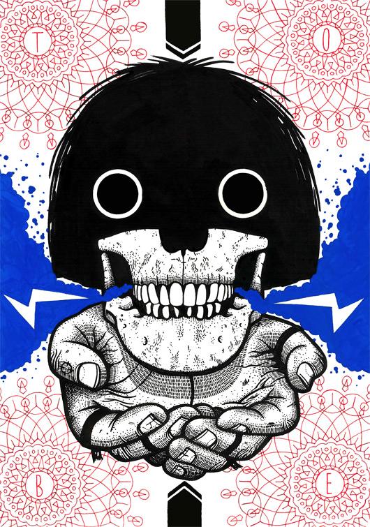 Image of Mop Top Skull Screen Print