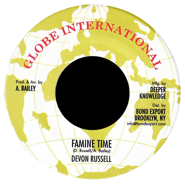 "Image of Devon Russell - Famine Time 7"" (Globe International)"