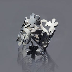 Image of Oxidized Silver Floral Branch Ring - MADE TO ORDER