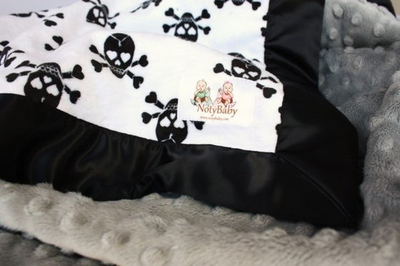 Image of BABY/ TODDLER/ ADULT BLANKET - BLACK & WHITE ROCKER SKULL WITH SILVER MINKY & BLACK SATIN TRIM