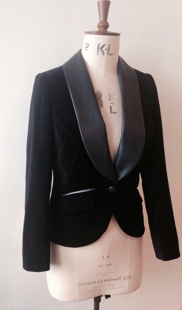 Image of Velvet and leather tux jacket