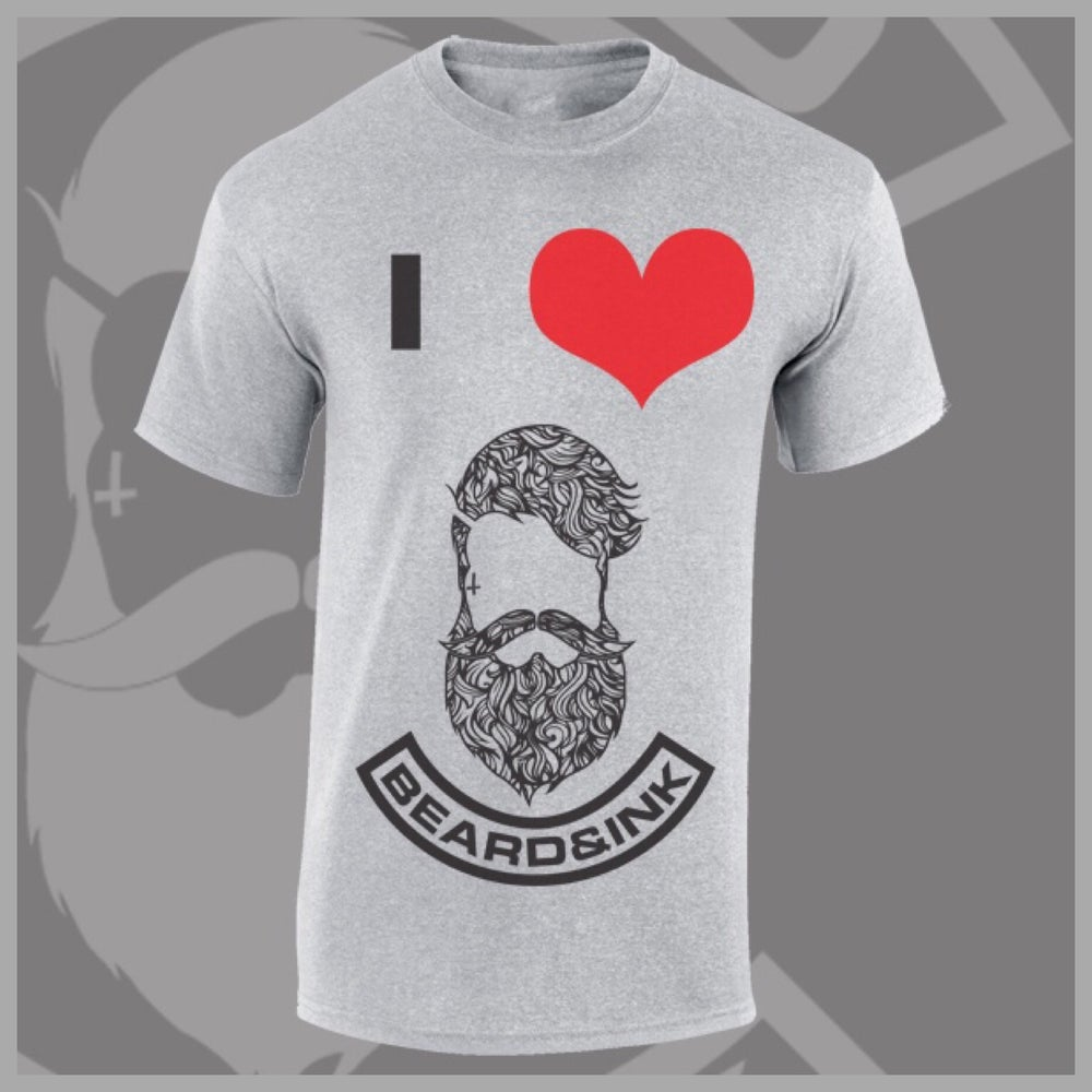 Image of Grey I ❤️ Beard & Ink Patterned Logo Tee