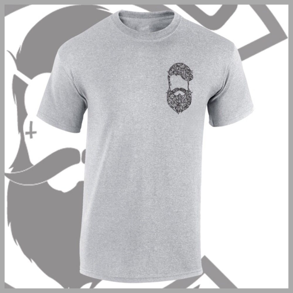 Image of Grey Beard & Ink Patterned  Chest Logo Tee