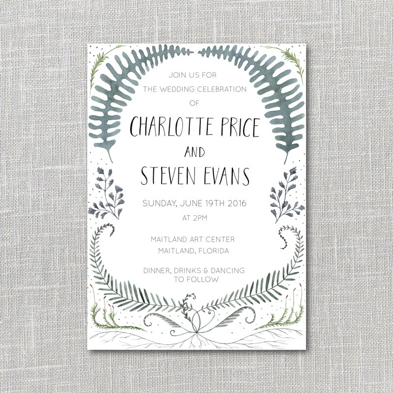 Image of Ferns PRINTABLE WEDDING INVITATION SUITE WITH CUSTOM HAND LETTERED NAMES