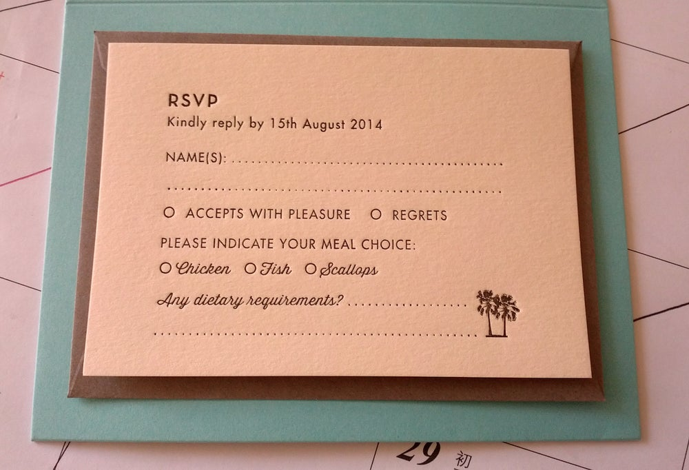 Image of RSVP cards // Letterpress printed wedding stationery, personalised, A7 size