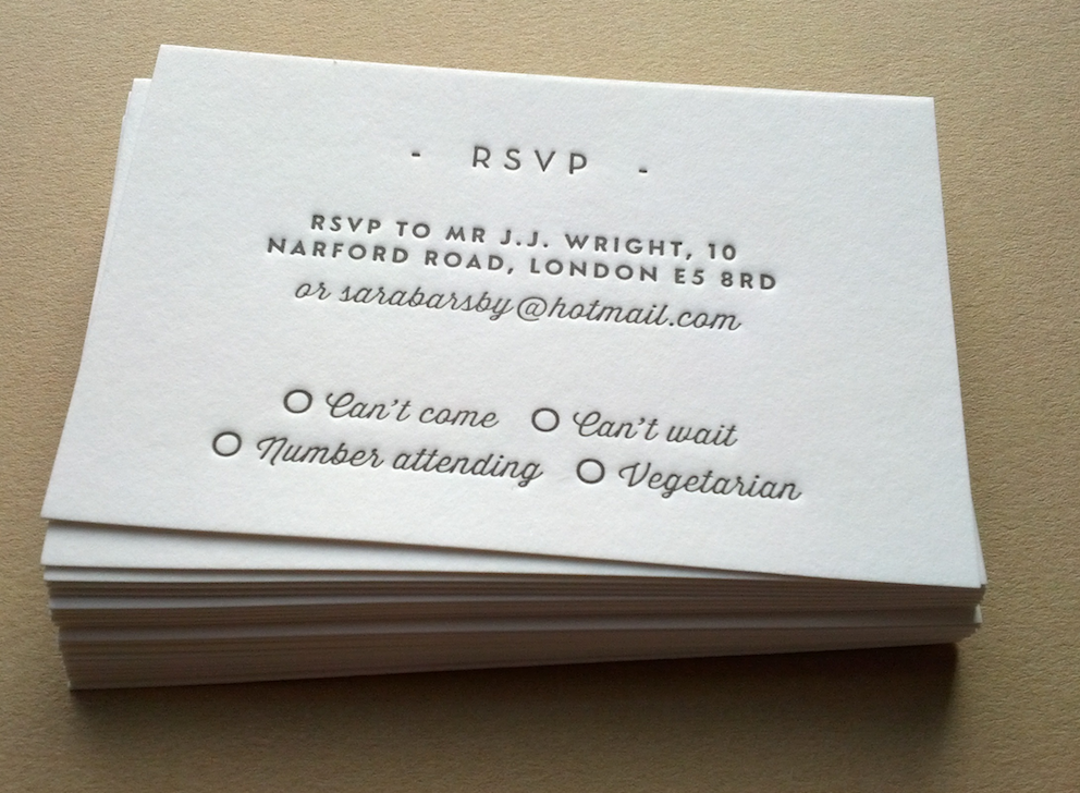 Image Of Rsvp Cards Letterpress Printed Wedding Stationery Personalised 85x55mm