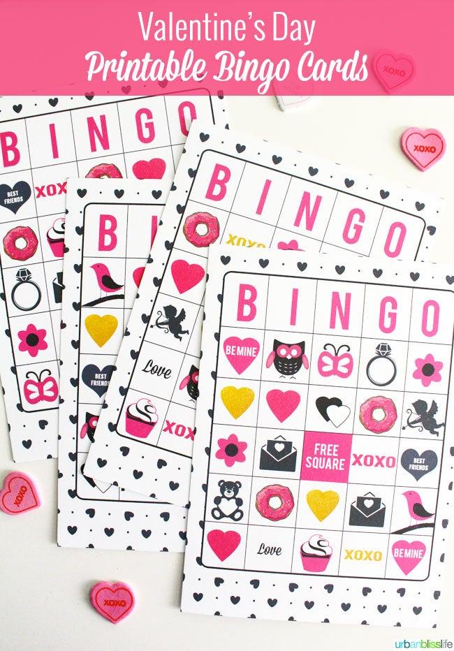 urban bliss — valentine's day bingo cards