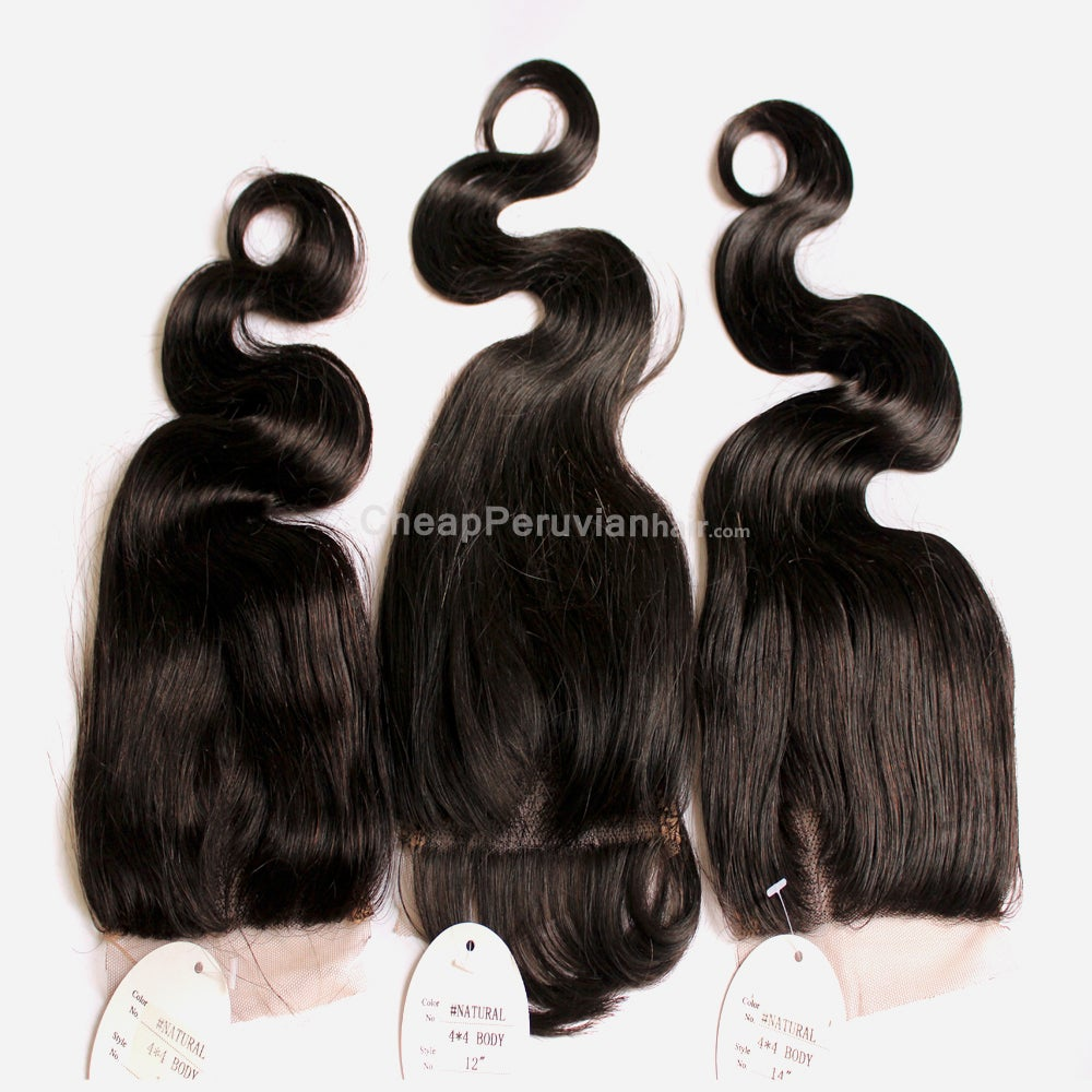 Image of 3pcs/lot Lace Closure Body Wave Peruvian 100% Unprocessed 4 x 4