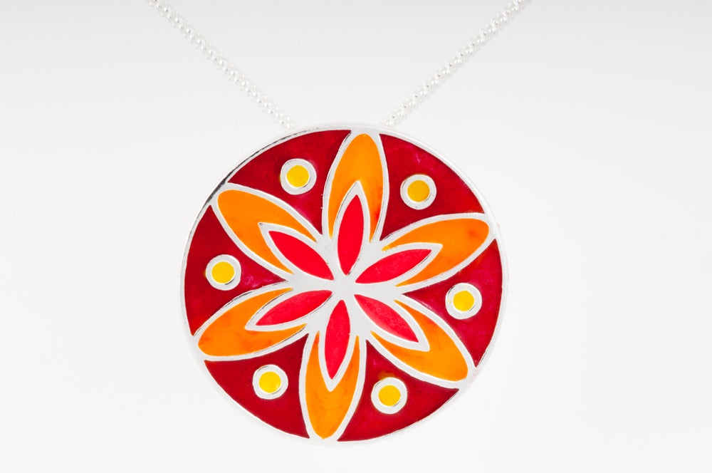 Image of Resinate Sterling Silver Mandala Pendant:Reds