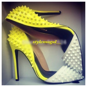Image of Yellow Candy Spiked Pumps