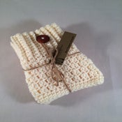 Image of Cream with Wood Buttons 2 Double Sided Crochet Boot Toppers