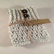 Image of Stone with 2 Wood Buttons Double Sided Crochet Boot Toppers