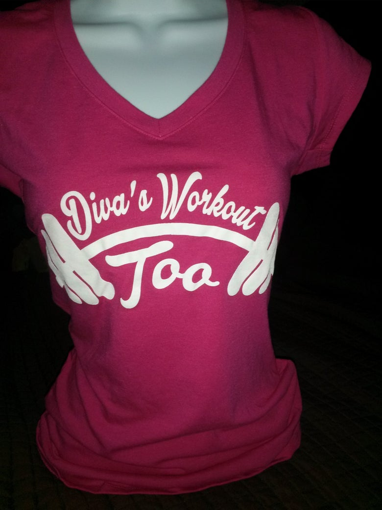 Image of Diva's Workout Too Shortsleeve Pink Raspberry Conga Tees