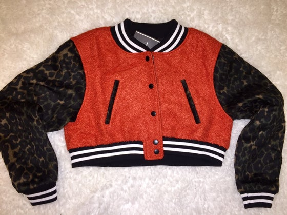 Image of Leopard Sleeved Cropped Letterman😍