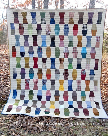 "Image of Full size quilt - 94"" x 74"" - tumbling block design - farmhouse quilt"
