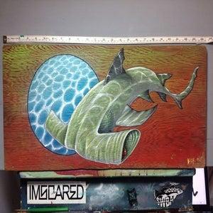 "Image of Original painting""Untitled"" 24""x11"" on driftwood."