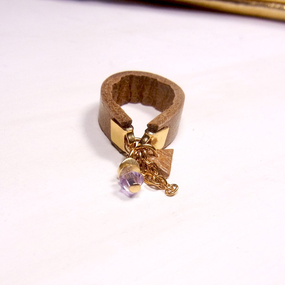 Image of Lilac and tan hot chip ring - slim band