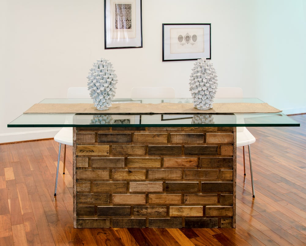 Image of 8 foot Maurer table with wooden top