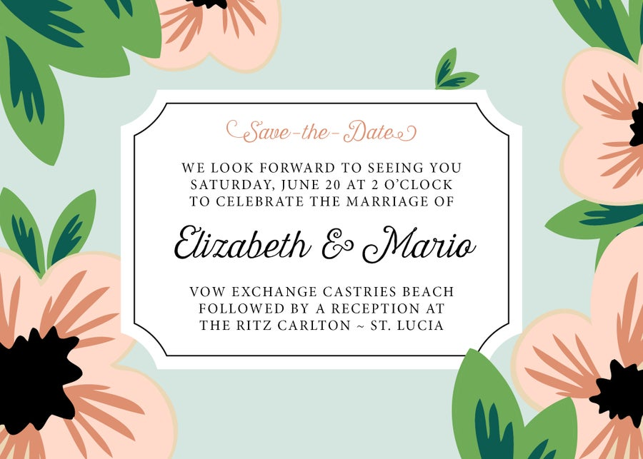 Image of Tropical Flowers Save-the-Date Announcement