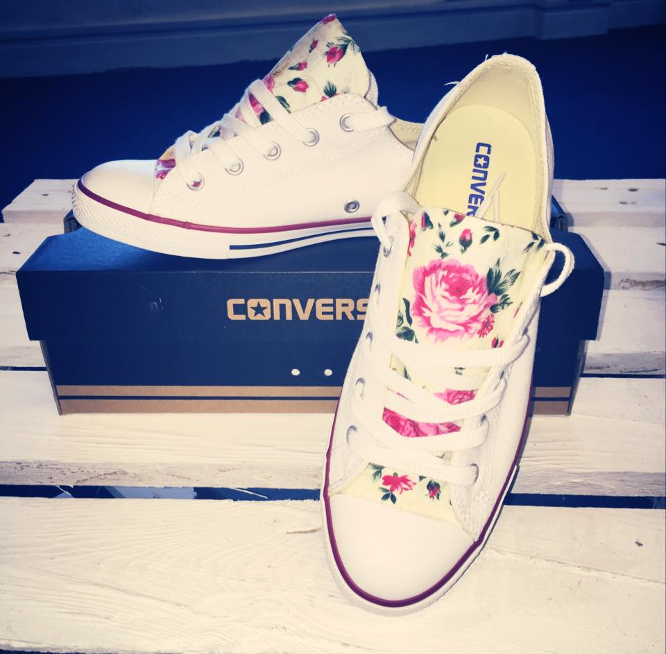 Image of White and Pink Floral Dainty Converse