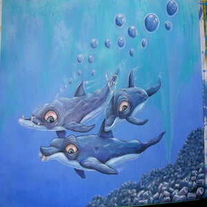 """Image of """"Kentucky River Dolphins"""" original painting 16"""" x 20"""""""