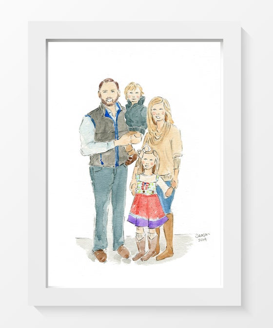 Image of CUSTOM FAMILY WATERCOLOR PORTRAITS (MULTIPLE SUBJECTS)