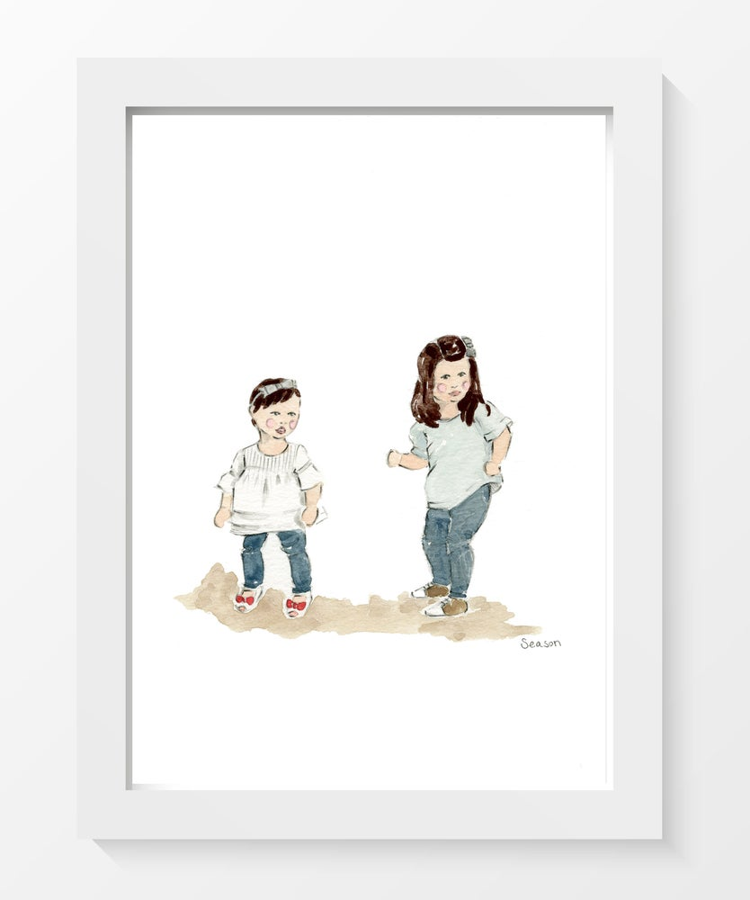 Image of CUSTOM CHILDREN WATERCOLOR PORTRAIT