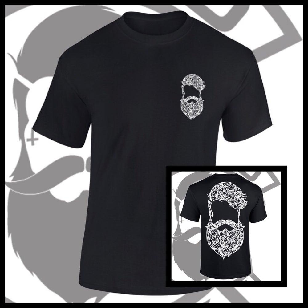 Image of Black Beard & Ink Rear Large Patterned Logo Tee