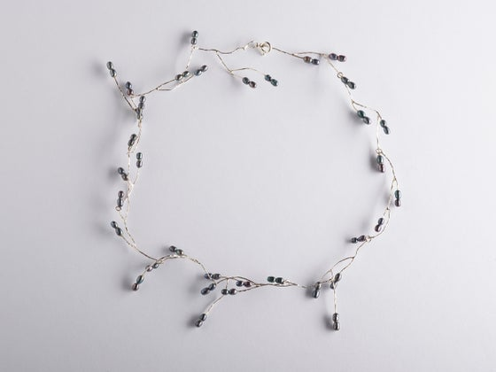 Image of necklace oxidised silver black pearls