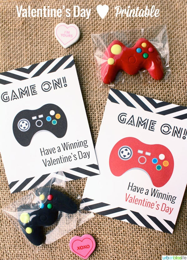 Image of Game On! Valentine's Day Card Printables