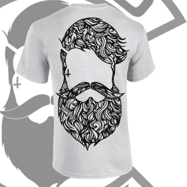 Image of Grey Beard & Ink Rear Large Patterned Logo Tee
