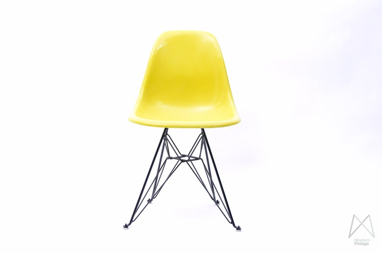 Image of Eames Herman Miller Fiberglass Shell Chair Canary Yellow