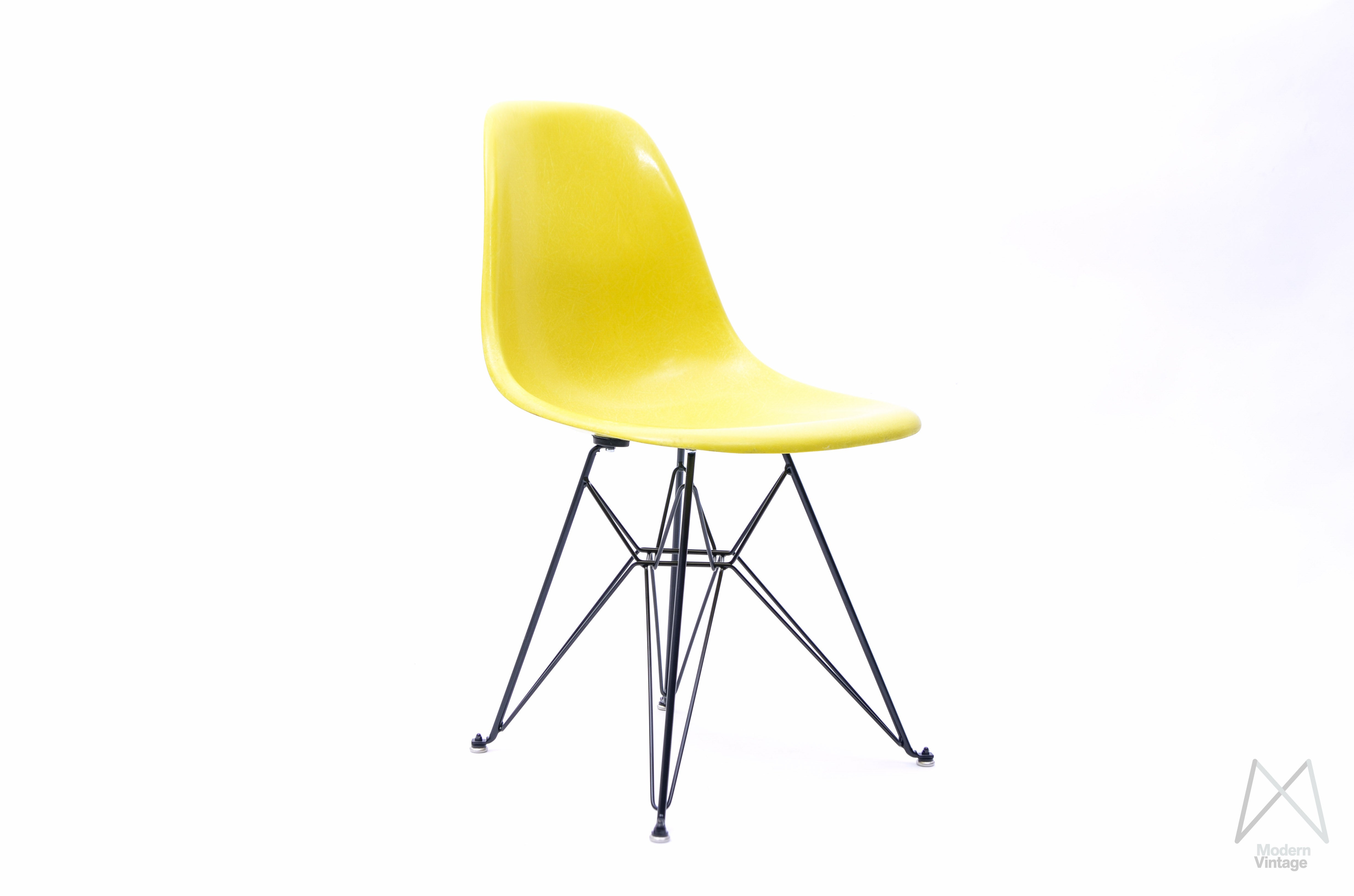 Image Of Eames Herman Miller Fiberglass Shell Chair Canary Yellow ...